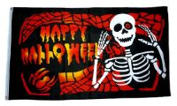 Fahne / Flagge Happy Halloween Skelett 90 x 150 cm