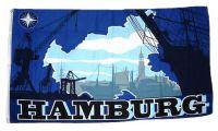 Fahne / Flagge Hamburg Silhouette 90 x 150 cm