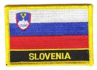 Fahnen Aufnäher Slowenien Schrift