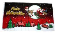 Fahne / Flagge Frohe Weihnachten Schlitten rot 150 x 250 cm