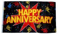 Fahne / Flagge Happy Anniversary Jahrestag 90 x 150 cm