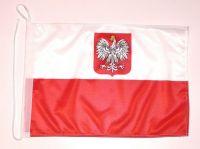 Bootsflagge Polen mit Adler 30 x 45 cm