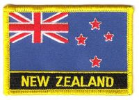Fahnen Aufnäher Neuseeland Schrift