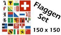 Flaggenset Schweiz 26 Kantone 150 x 150 cm
