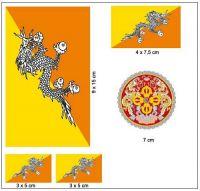 Fahnen Aufkleber Set Bhutan