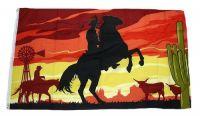 Fahne / Flagge Cowboy mit Pferd 90 x 150 cm
