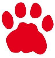 Aufkleber Sticker Tatze Pfote rot