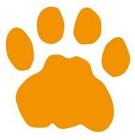 Aufkleber Sticker Tatze Pfote orange