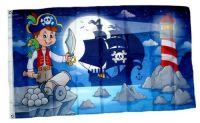 Fahne / Flagge Kinderpirat Leuchtturm 90 x 150 cm