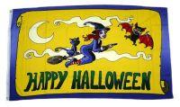 Fahne / Flagge Happy Halloween Hexe Fledermaus 90 x 150 cm