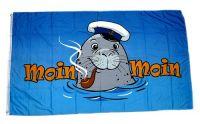 Fahne / Flagge Moin Moin Seehund Pfeife 60 x 90 cm
