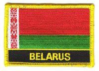 Fahnen Aufnäher Weißrussland Schrift