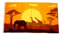 Fahne / Flagge Afrika Tiere Silhouette 90 x 150 cm