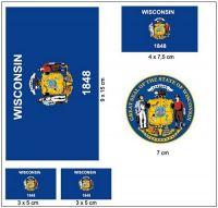 Fahnen Aufkleber Set USA - Wisconsin