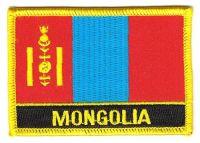 Fahnen Aufnäher Mongolei Schrift