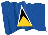 Fahnen Aufkleber Sticker St. Lucia wehend