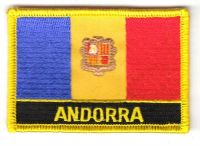 Fahnen Aufnäher Andorra Schrift