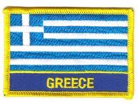 Fahnen Aufnäher Griechenland Schrift