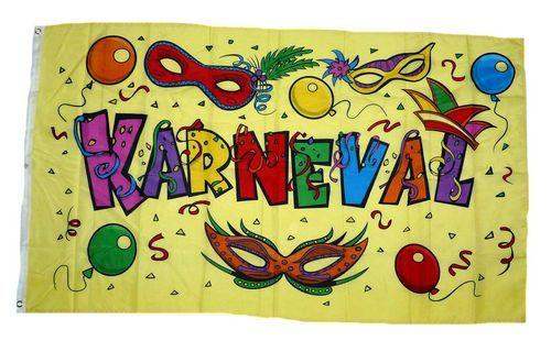 Fahne / Flagge Karneval Fasching Masken 90 x 150 cm