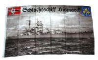Fahne / Flagge Schlachtschiff Bismarck Kriegsmarine 90 x 150 cm