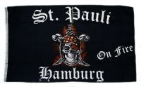 Fahne / Flagge St. Pauli on Fire 90 x 150 cm