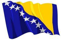 Fahnen Aufkleber Sticker Bosnien Herzegowina wehend