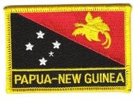 Fahnen Aufnäher Papuaguinea Schrift