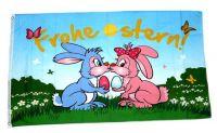 Fahne / Flagge Frohe Ostern küssendes Hasenpaar 60 x 90 cm