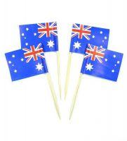 50 Minifahnen Dekopicker Australien 30 x 40 mm