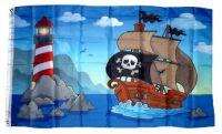 Fahne / Flagge Piratenschiff Leuchtturm 90 x 150 cm