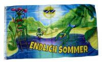 Fahne / Flagge Endlich Sommer Frösche 90 x 150 cm
