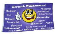 Fahne / Flagge Herzlich Willkommen Smile 90 x 150 cm