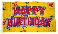 Fahne / Flagge Happy Birthday gelb 90 x 150 cm