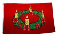 Fahne / Flagge Frohe Weihnachten Adventskranz 90 x 150 cm