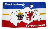 Fahne / Flagge Mecklenburg Vorpommern Karte 90 x 150 cm