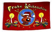 Fahne / Flagge Frohe Weihnachten Elch 90 x 150 cm