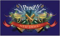 Fahne / Flagge Prosit Neujahr Sektflasche 90 x 150 cm