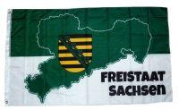 Fahne / Flagge Freistaat Sachsen Karte 90 x 150 cm