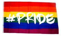 Fahne / Flagge Regenbogen Hashtag Pride 90 x 150 cm