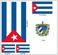 Fahnen Aufkleber Set Kuba