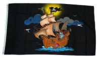 Fahne / Flagge Piratenschiff schwarz 90 x 150 cm