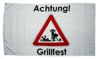 Fahne / Flagge Achtung Grillfest 90 x 150 cm