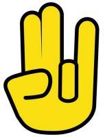 Aufkleber Sticker Shocker Hand gelb