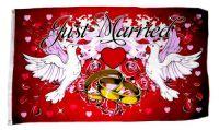 Fahne / Flagge Just Married Hochzeit Tauben 90 x 150 cm