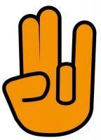 Aufkleber Sticker Shocker Hand orange