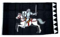 Fahne / Flagge Ritter mit Pferd schwarz 90 x 150 cm