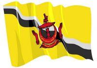 Fahnen Aufkleber Sticker Brunei wehend