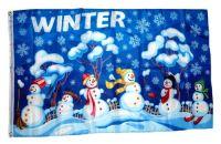 Fahne / Flagge Winter Schneemänner 90 x 150 cm