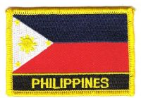 Fahnen Aufnäher Philippinen Schrift