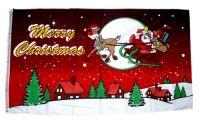 Fahne / Flagge Merry Christmas Schlitten rot 90 x 150 cm